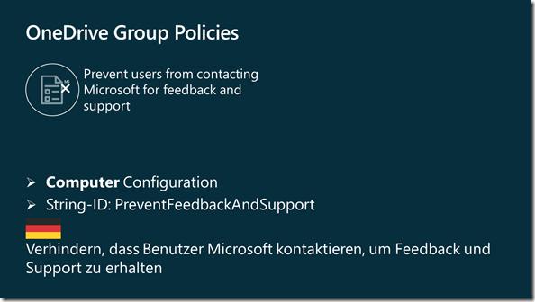 OneDrive Gruppenrichtlinie: Verhindern, dass Benutzer Microsoft kontaktieren, um Feedback und Support zu erhalten