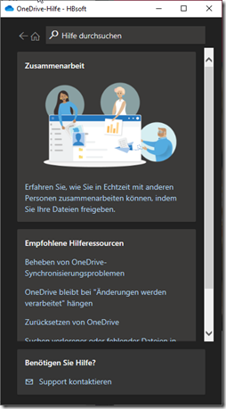 Benutzer kann Microsoft Support kontaktieren