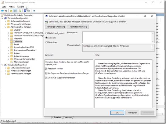 OneDrive Computer Gruppenrichtlinie: Verhindern, dass Benutzer Microsoft kontaktieren, um Feedback und Support zu erhalten