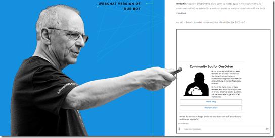 WebChat Version des Community Bot for OneDrive