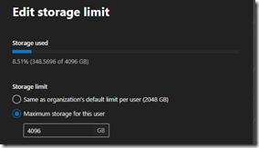 Display of OneDrive storage