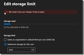Error message after reducing the memory in the Admin Center